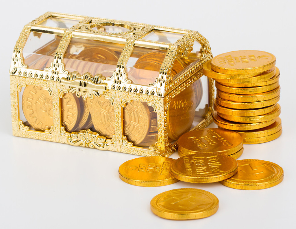 Treasure chest with chocolate coins